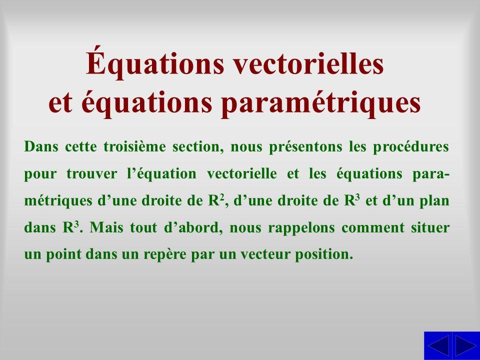 Équations vectorielles et équations paramétriques