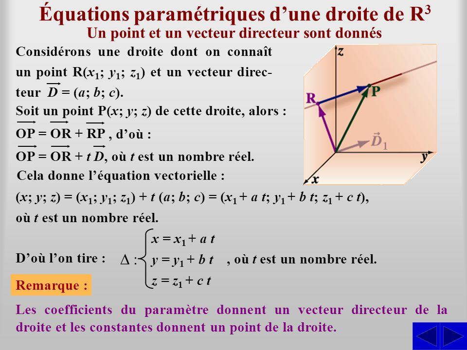 Équations paramétriques d'une droite de R3