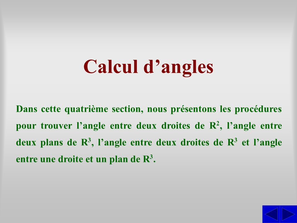 Calcul d'angles
