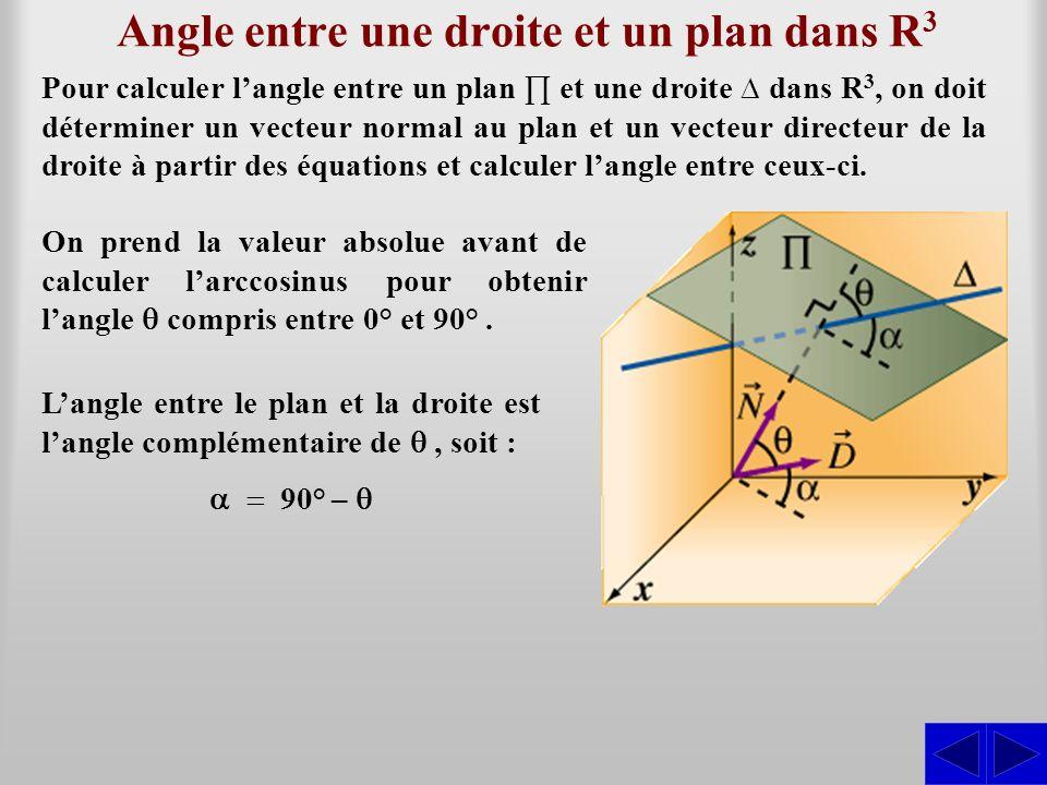 Angle entre une droite et un plan dans R3