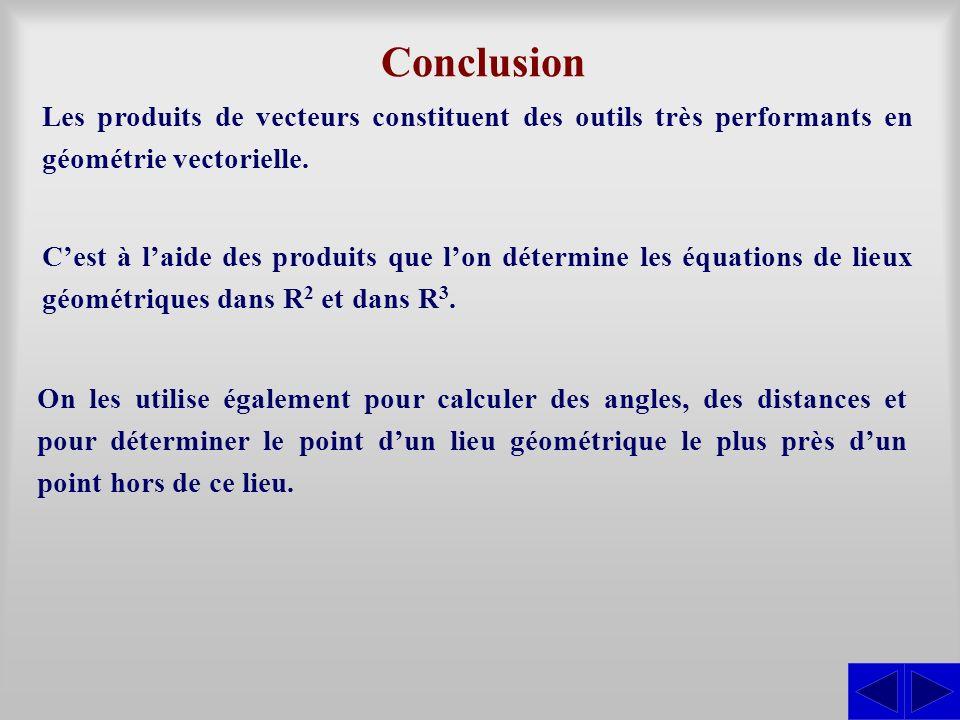 Conclusion Les produits de vecteurs constituent des outils très performants en géométrie vectorielle.