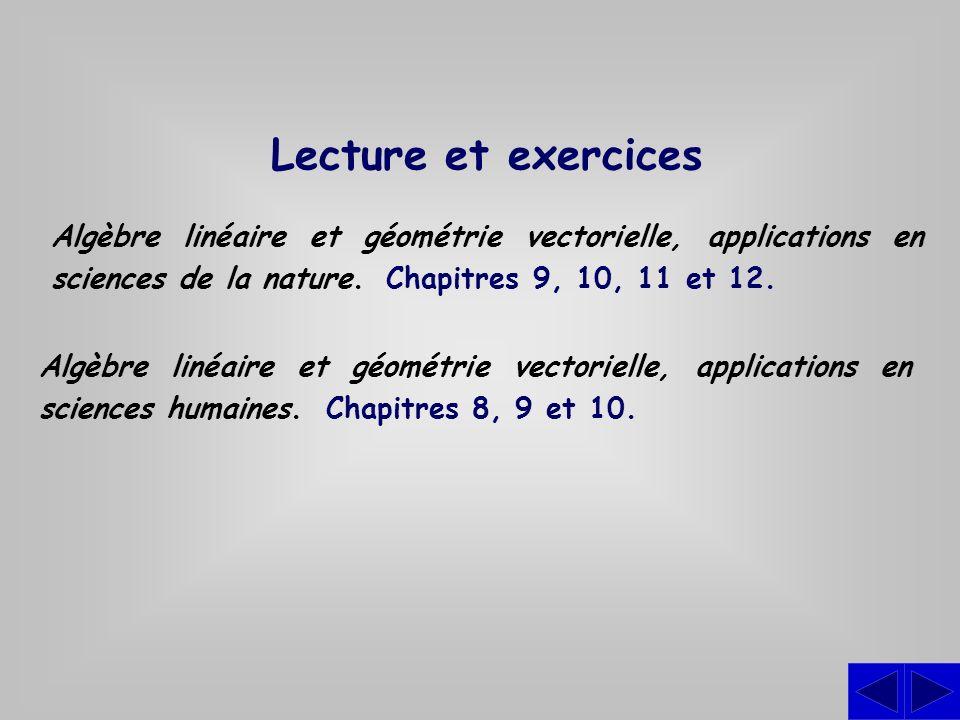 Lecture et exercices Algèbre linéaire et géométrie vectorielle, applications en sciences de la nature. Chapitres 9, 10, 11 et 12.