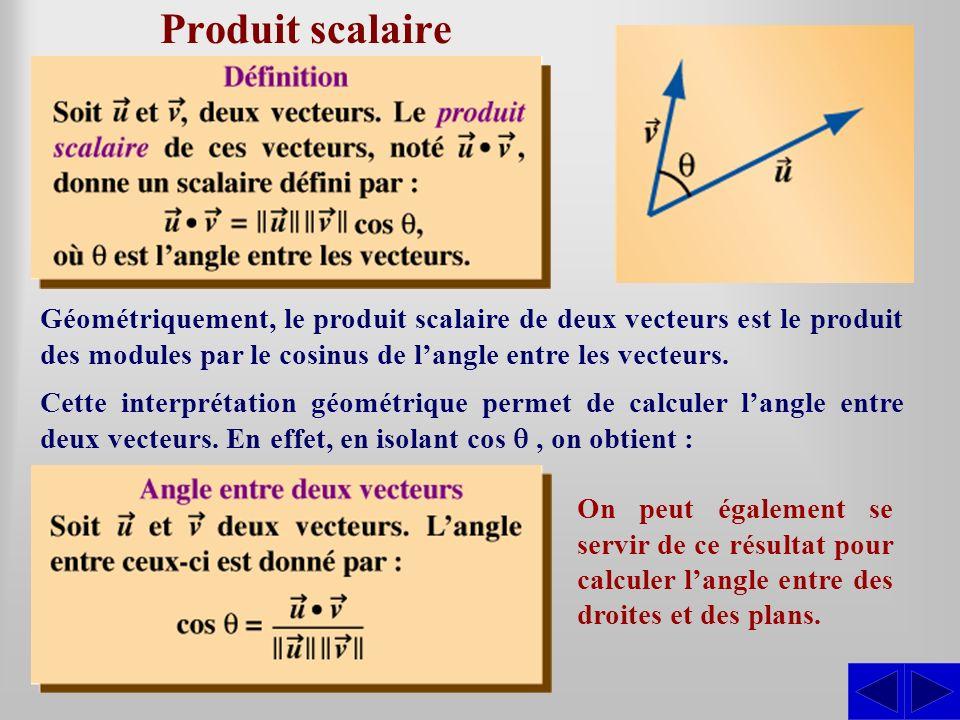 Produit scalaire Géométriquement, le produit scalaire de deux vecteurs est le produit des modules par le cosinus de l'angle entre les vecteurs.
