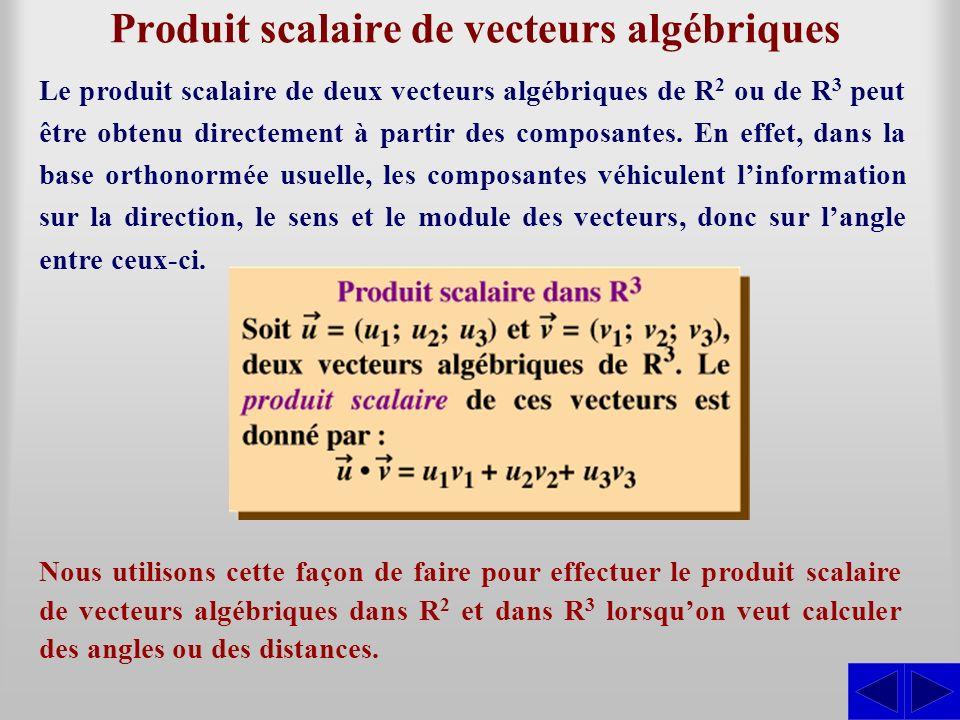Produit scalaire de vecteurs algébriques