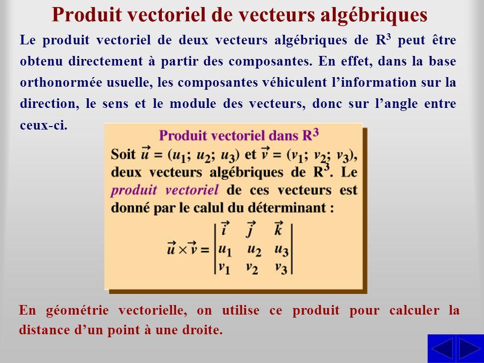 Produit vectoriel de vecteurs algébriques
