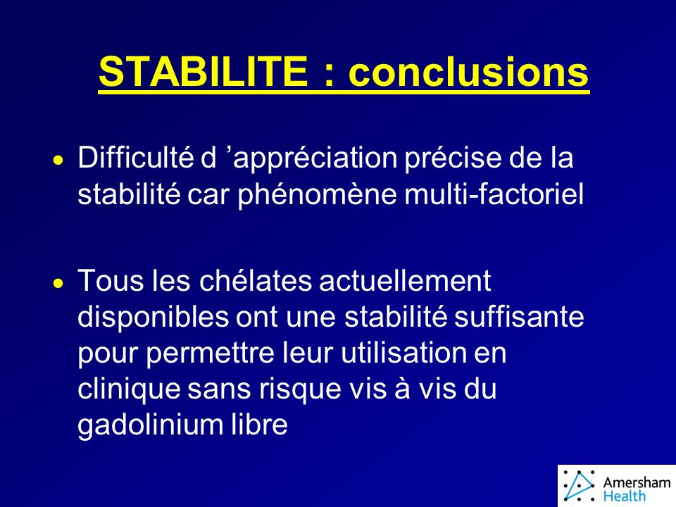 STABILITE : conclusions