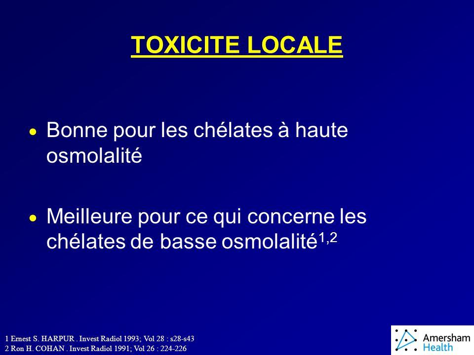 TOXICITE LOCALE Bonne pour les chélates à haute osmolalité