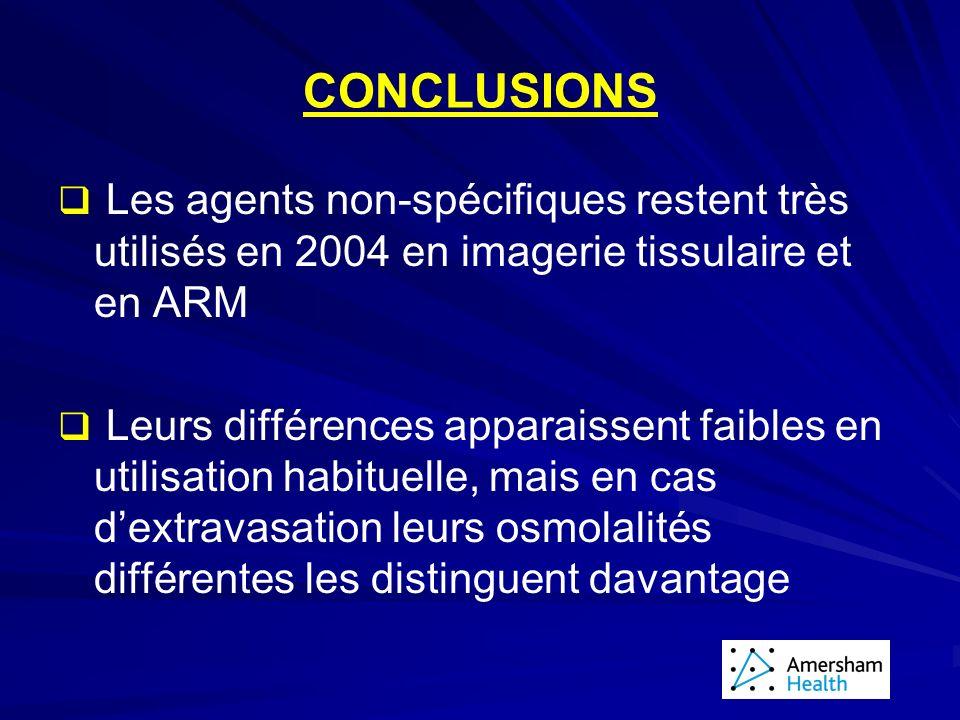 CONCLUSIONS Les agents non-spécifiques restent très utilisés en 2004 en imagerie tissulaire et en ARM.