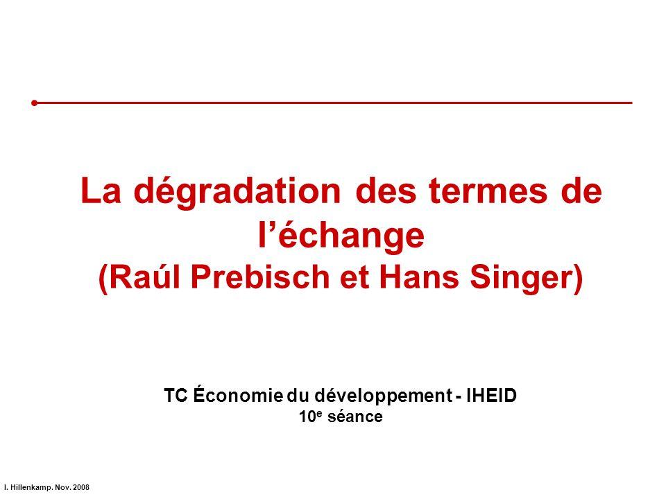 La dégradation des termes de l'échange (Raúl Prebisch et Hans Singer)