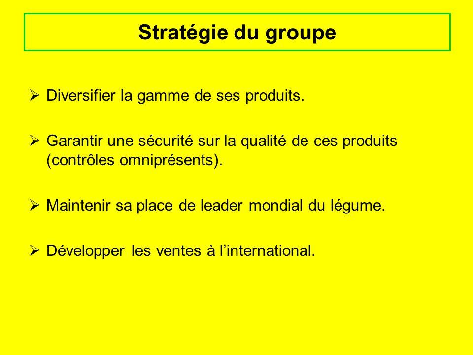 Stratégie du groupe Diversifier la gamme de ses produits.