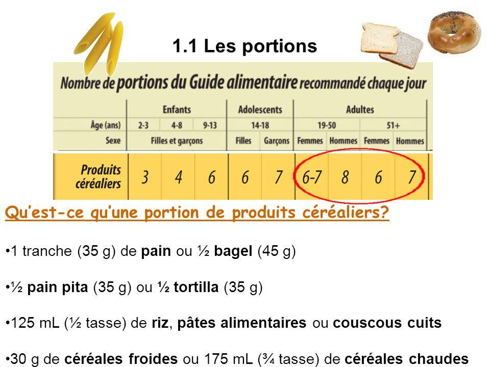 1.1 Les portions Qu'est-ce qu'une portion de produits céréaliers