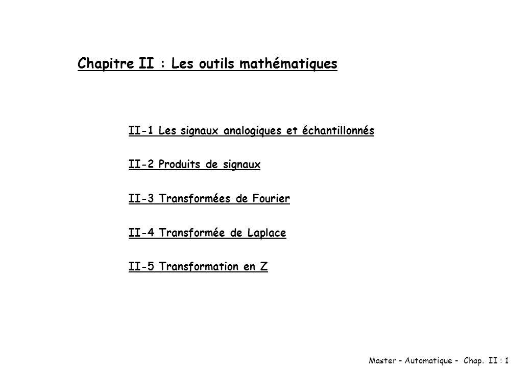 Chapitre II : Les outils mathématiques