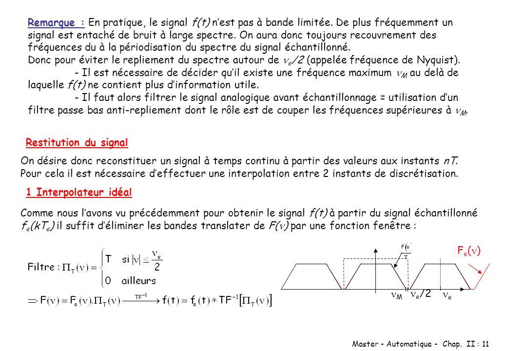 Remarque : En pratique, le signal f(t) n'est pas à bande limitée