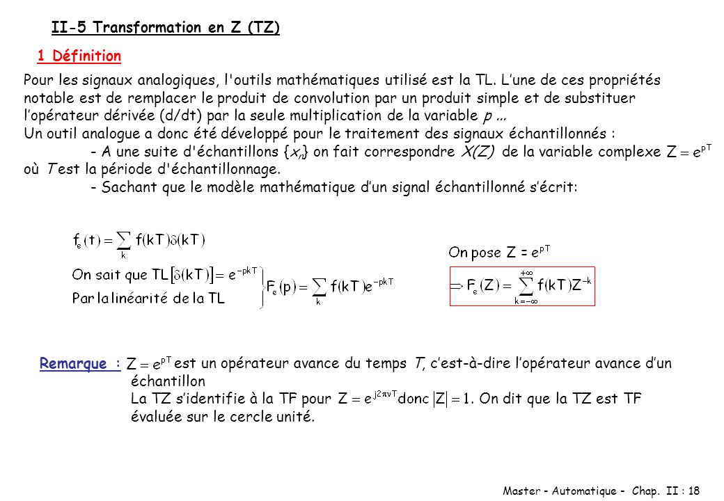 II-5 Transformation en Z (TZ)