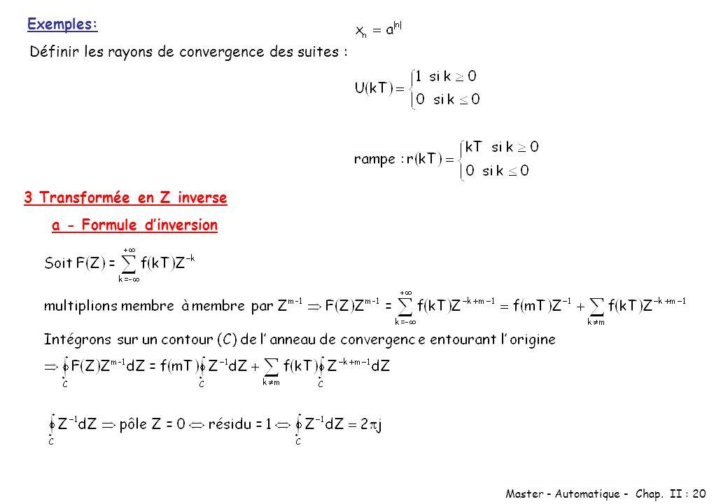 Exemples: Définir les rayons de convergence des suites : 3 Transformée en Z inverse.