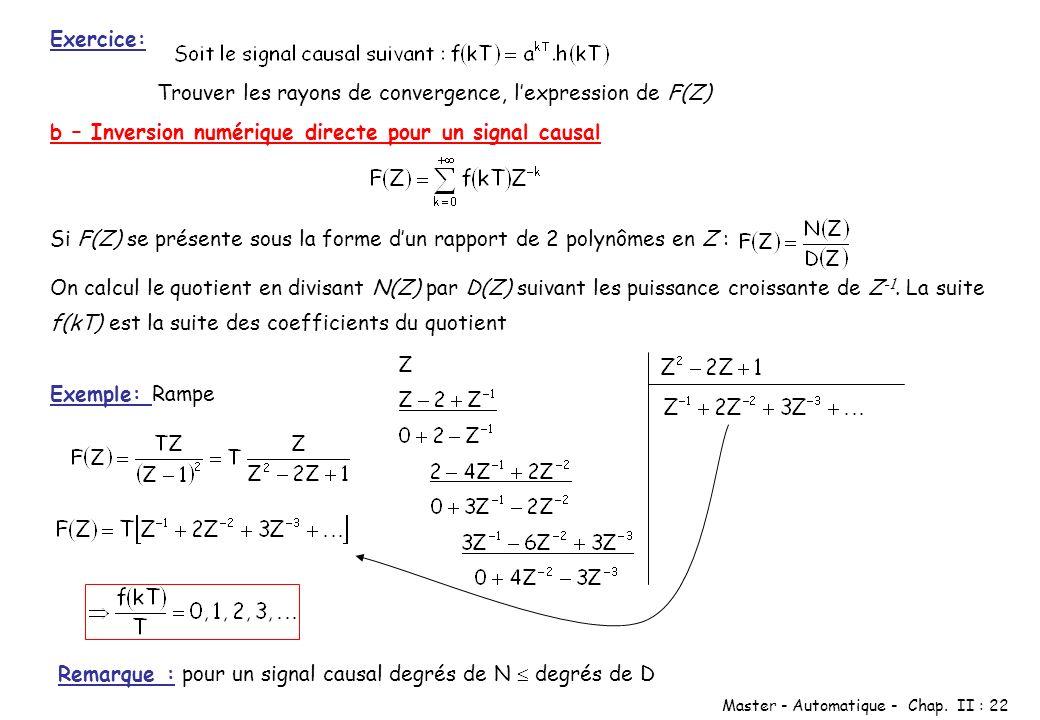 Exercice: Trouver les rayons de convergence, l'expression de F(Z) b – Inversion numérique directe pour un signal causal.