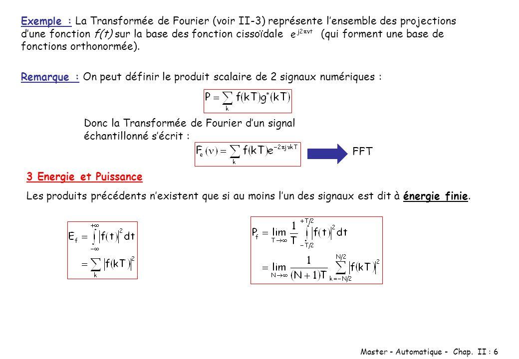 Exemple : La Transformée de Fourier (voir II-3) représente l'ensemble des projections d'une fonction f(t) sur la base des fonction cissoïdale (qui forment une base de fonctions orthonormée).