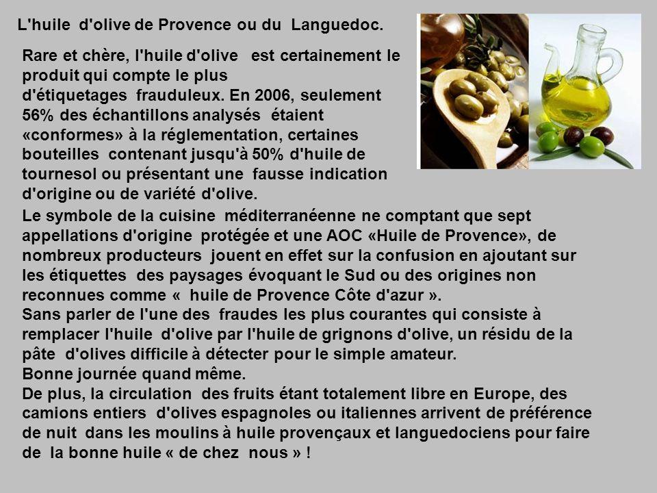 L huile d olive de Provence ou du Languedoc.