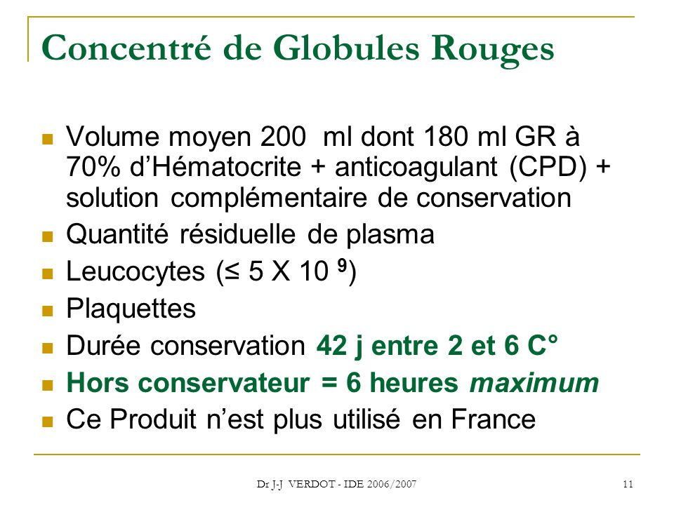 Concentré de Globules Rouges