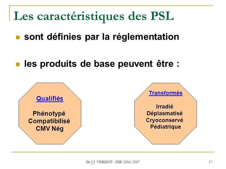Les caractéristiques des PSL