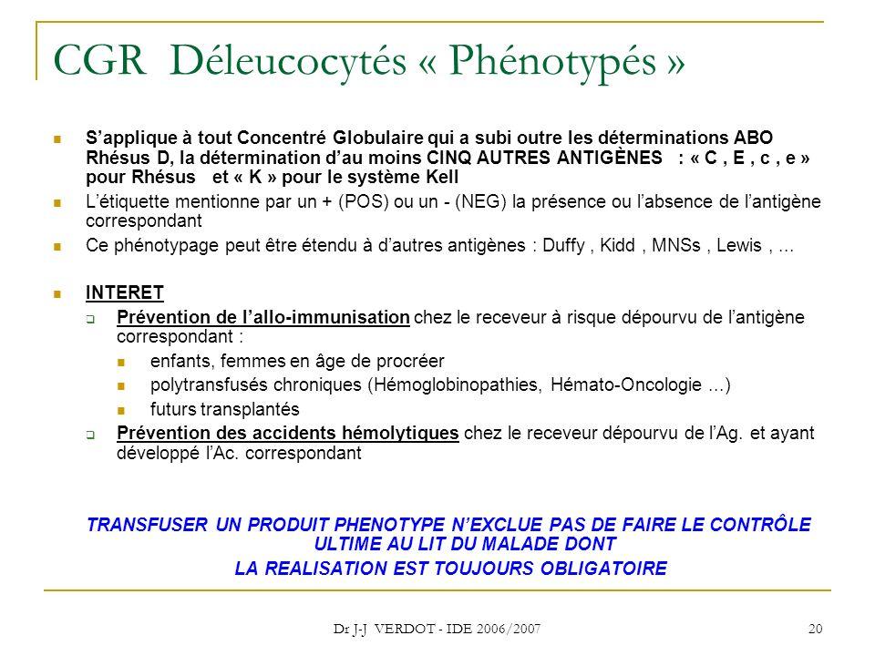 CGR Déleucocytés « Phénotypés »