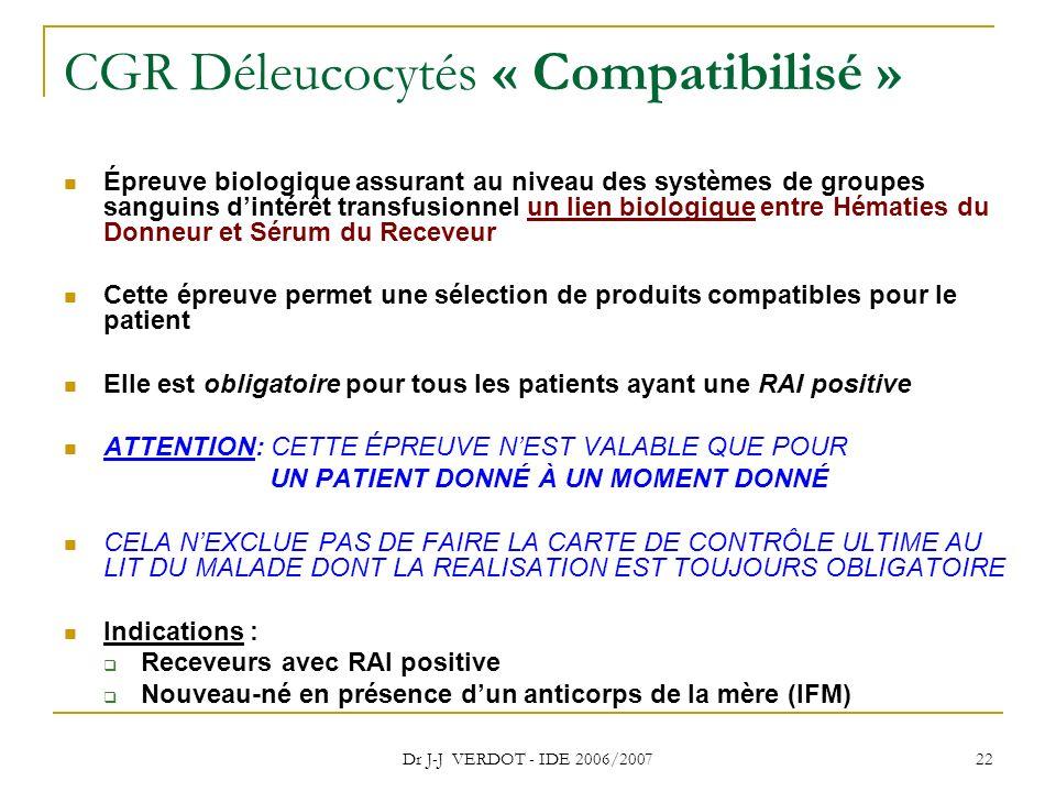 CGR Déleucocytés « Compatibilisé »