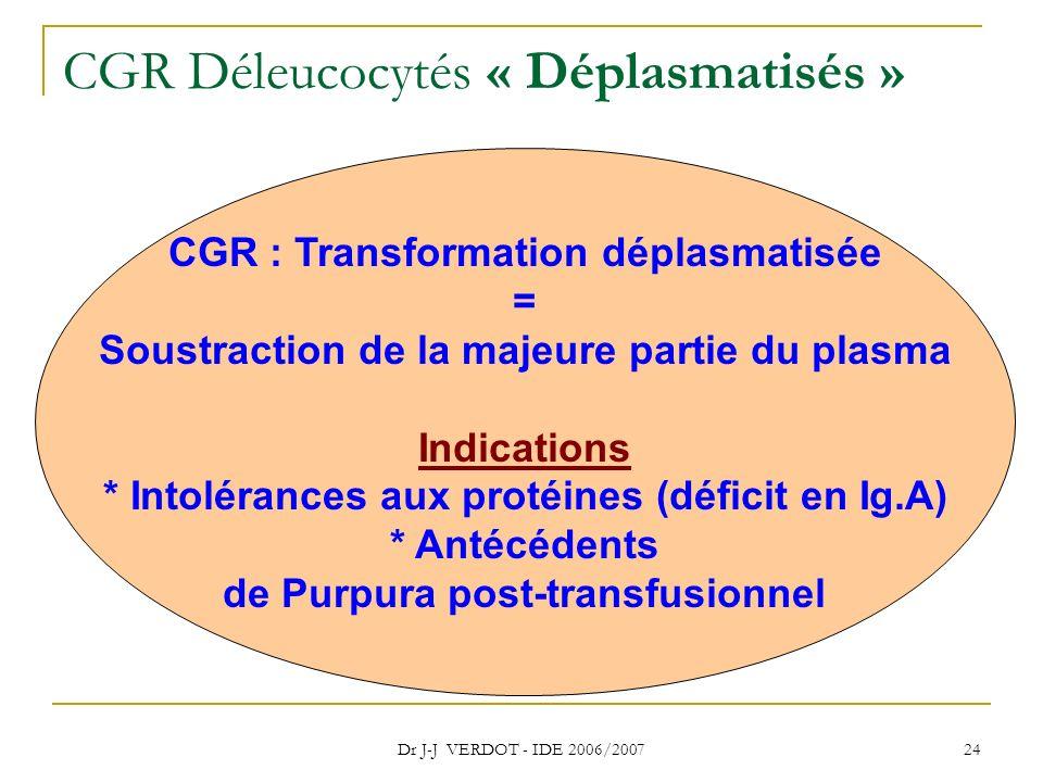 CGR Déleucocytés « Déplasmatisés »