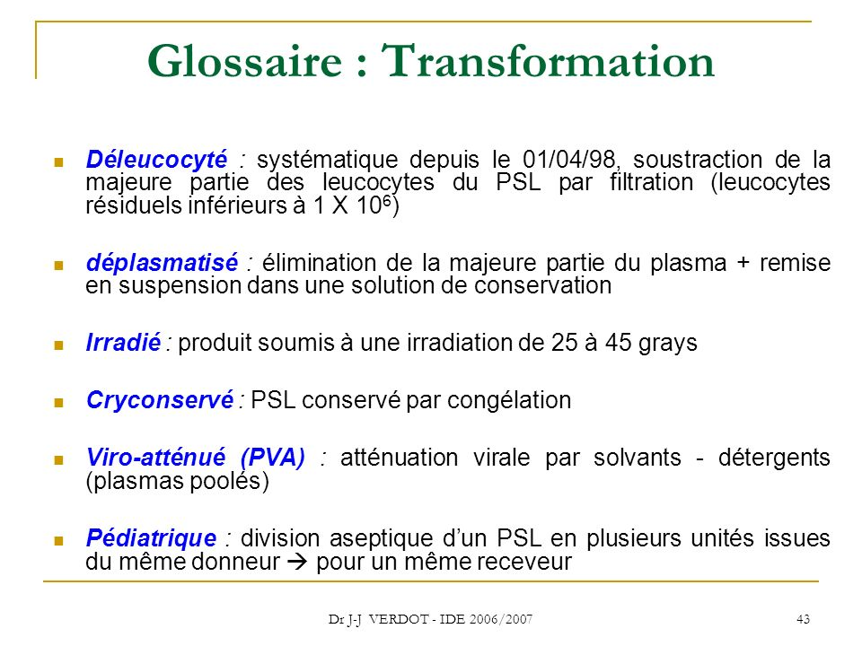 Glossaire : Transformation