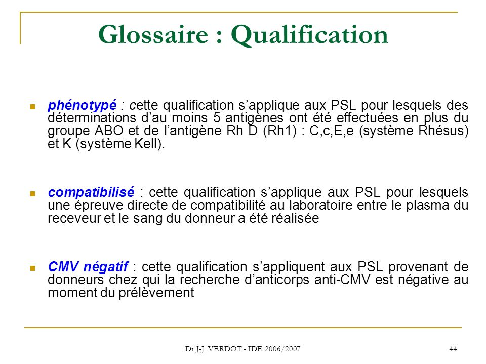 Glossaire : Qualification