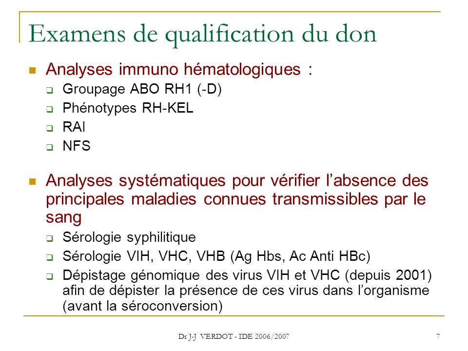 Examens de qualification du don