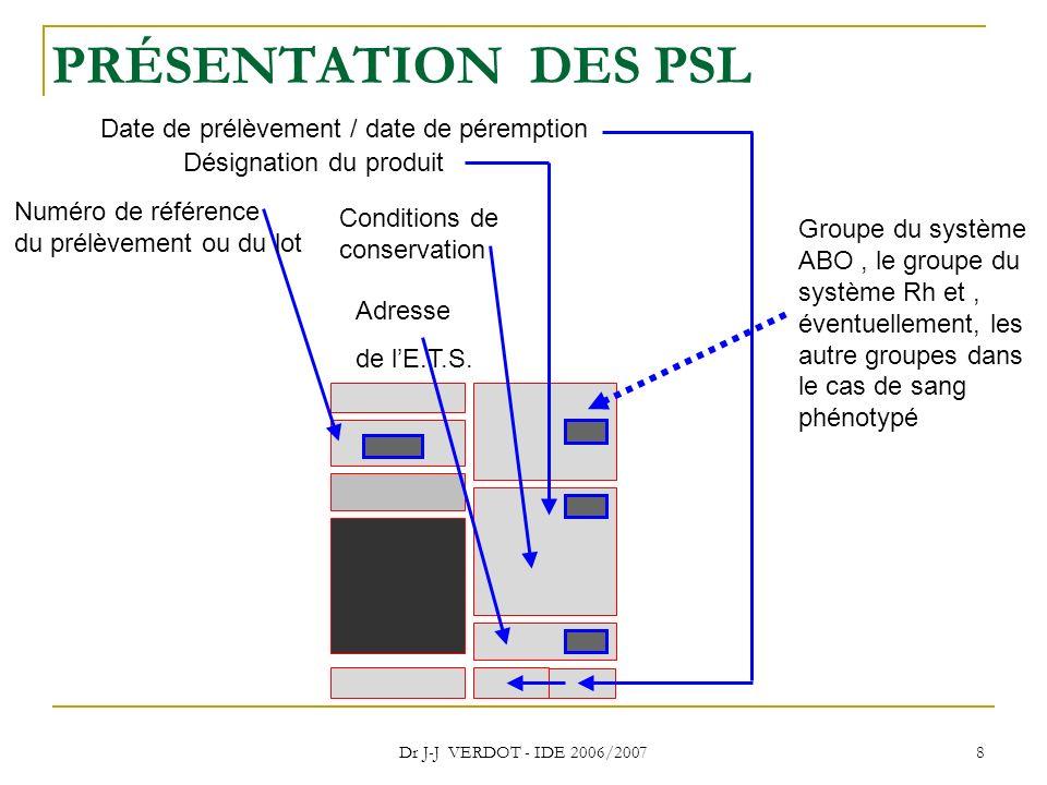 PRÉSENTATION DES PSL Date de prélèvement / date de péremption