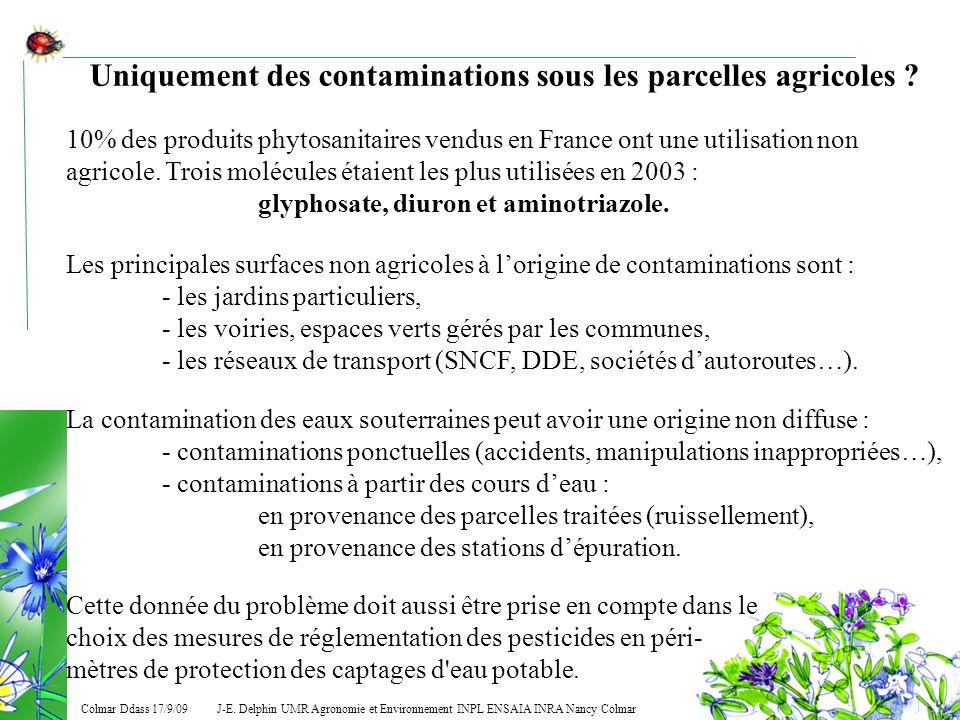 Uniquement des contaminations sous les parcelles agricoles