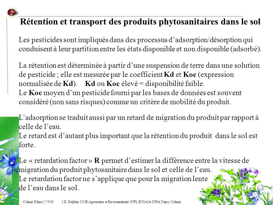 Rétention et transport des produits phytosanitaires dans le sol