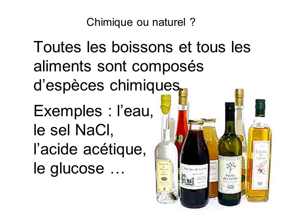 Chimique ou naturel Toutes les boissons et tous les aliments sont composés d'espèces chimiques. Exemples : l'eau,