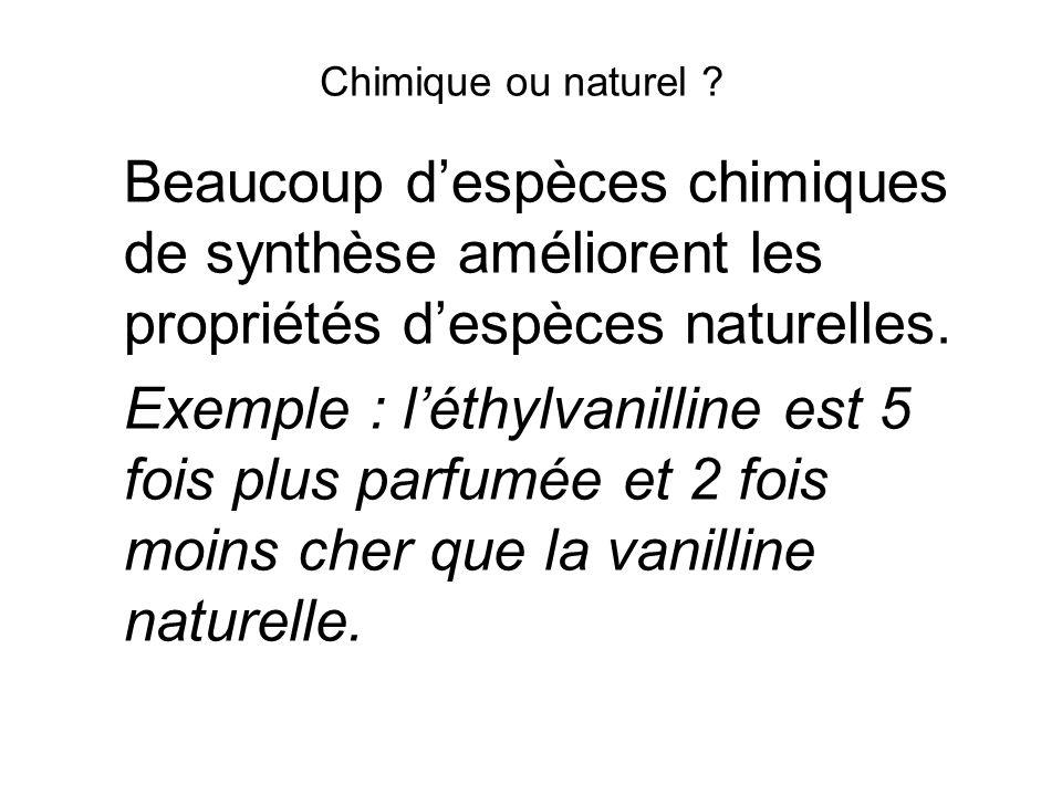 Chimique ou naturel Beaucoup d'espèces chimiques de synthèse améliorent les propriétés d'espèces naturelles.