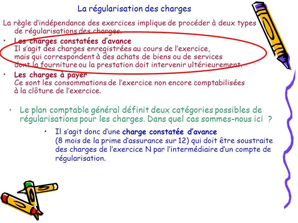 La régularisation des charges