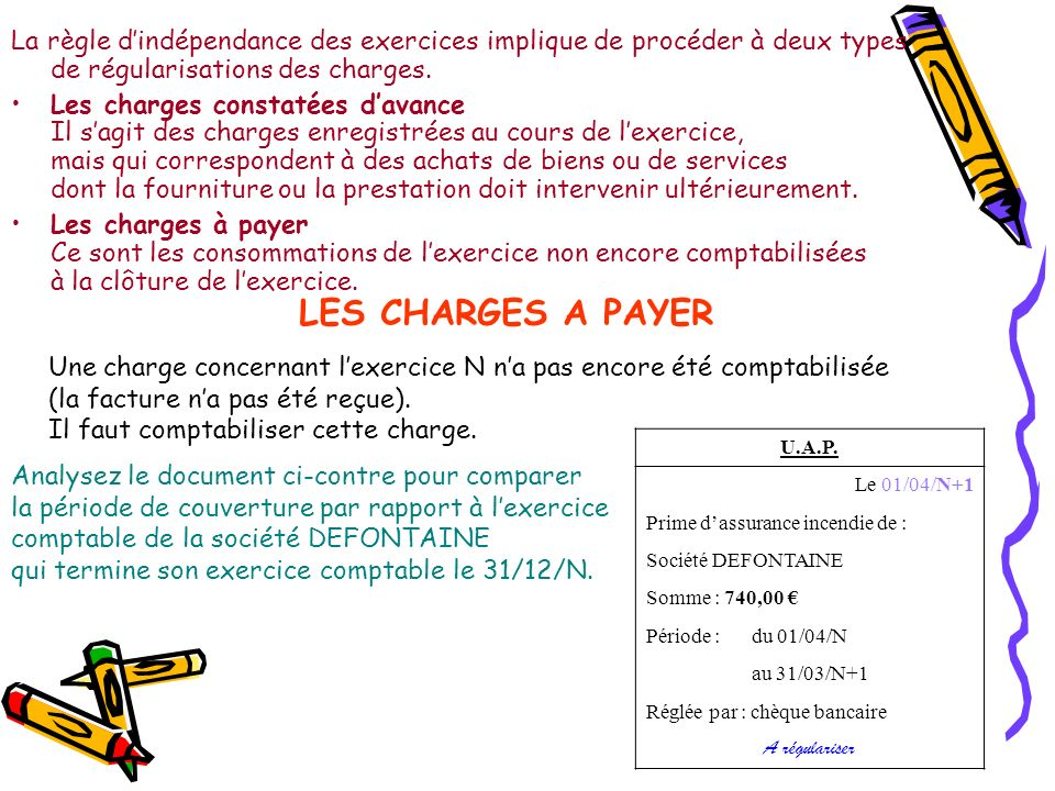 La règle d'indépendance des exercices implique de procéder à deux types de régularisations des charges.