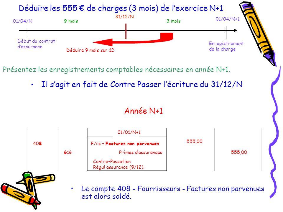 Déduire les 555 € de charges (3 mois) de l'exercice N+1