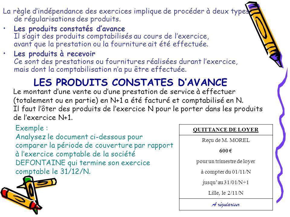 LES PRODUITS CONSTATES D'AVANCE
