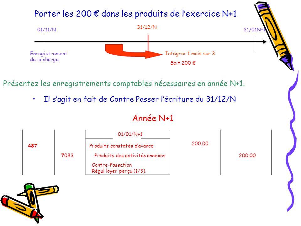 Porter les 200 € dans les produits de l'exercice N+1