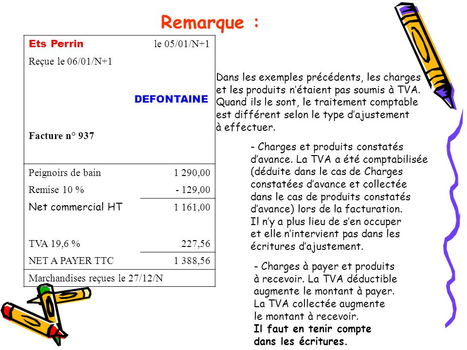 Remarque : Ets Perrin le 05/01/N+1 Reçue le 06/01/N+1 DEFONTAINE