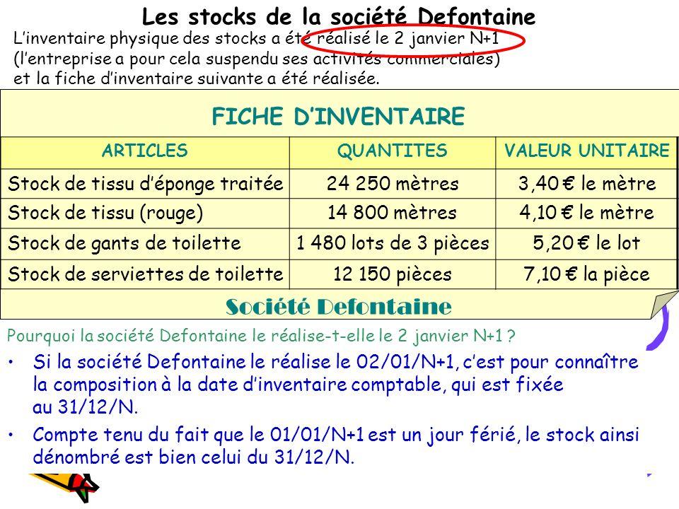 Les stocks de la société Defontaine