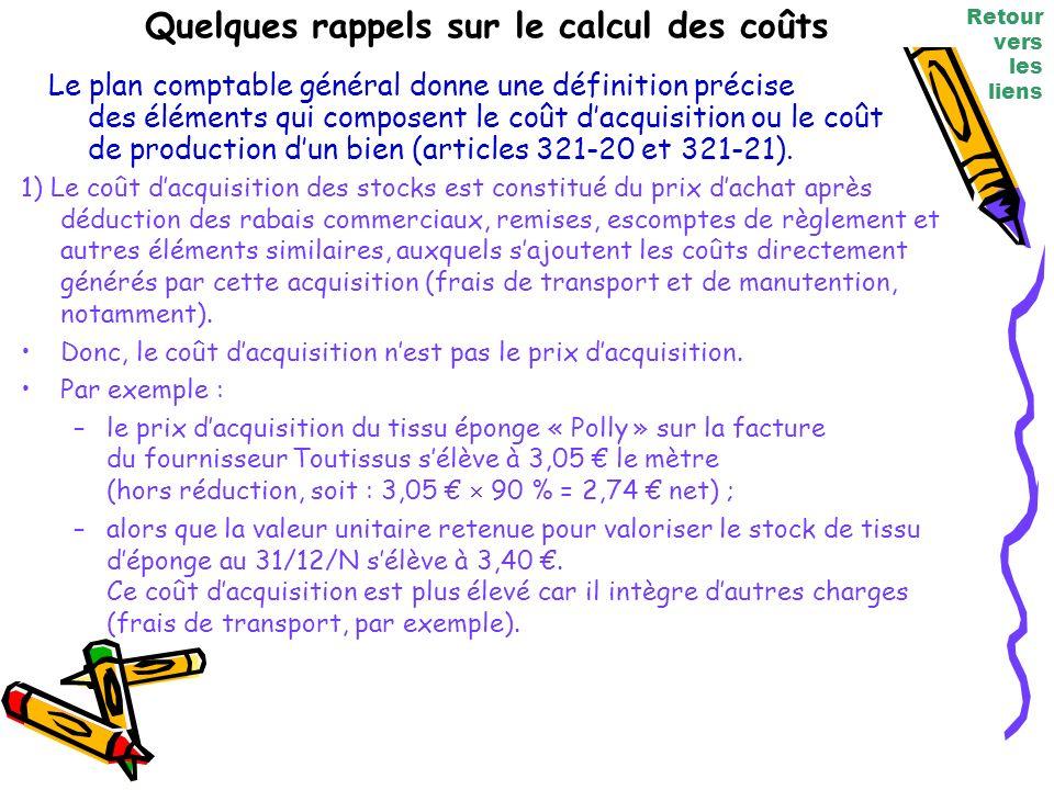 Quelques rappels sur le calcul des coûts