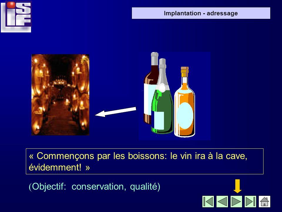 « Commençons par les boissons: le vin ira à la cave, évidemment! »