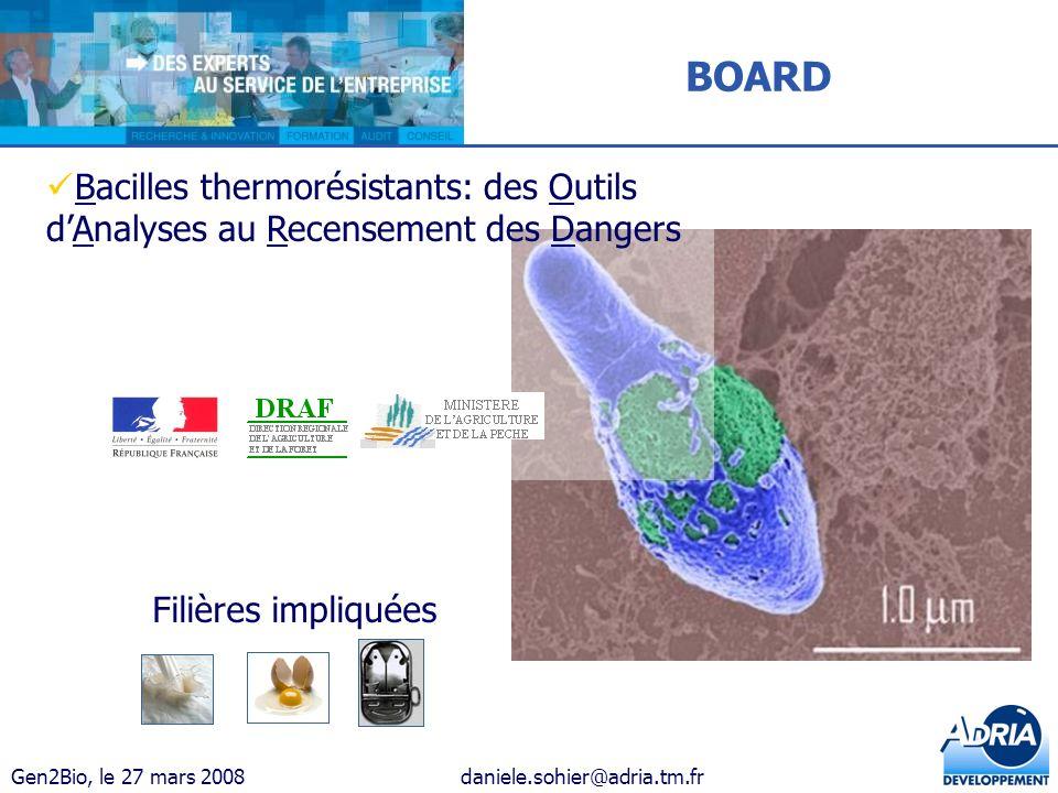 BOARD Bacilles thermorésistants: des Outils d'Analyses au Recensement des Dangers.