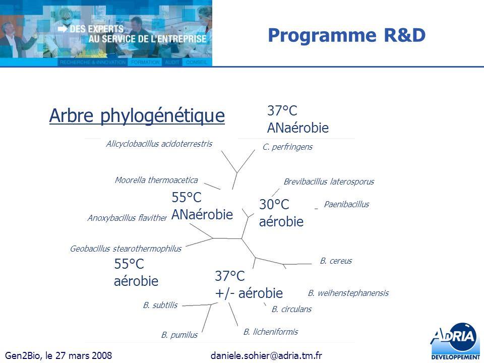 Programme R&D Arbre phylogénétique ANaérobie 55°C 30°C aérobie 37°C