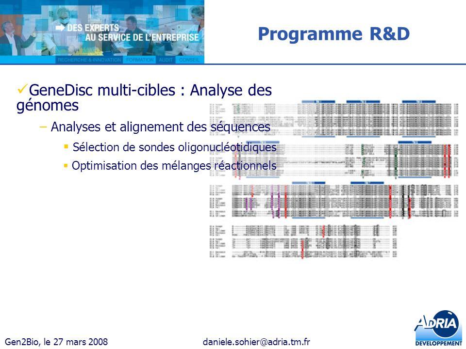 Programme R&D GeneDisc multi-cibles : Analyse des génomes