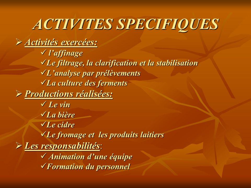 ACTIVITES SPECIFIQUES