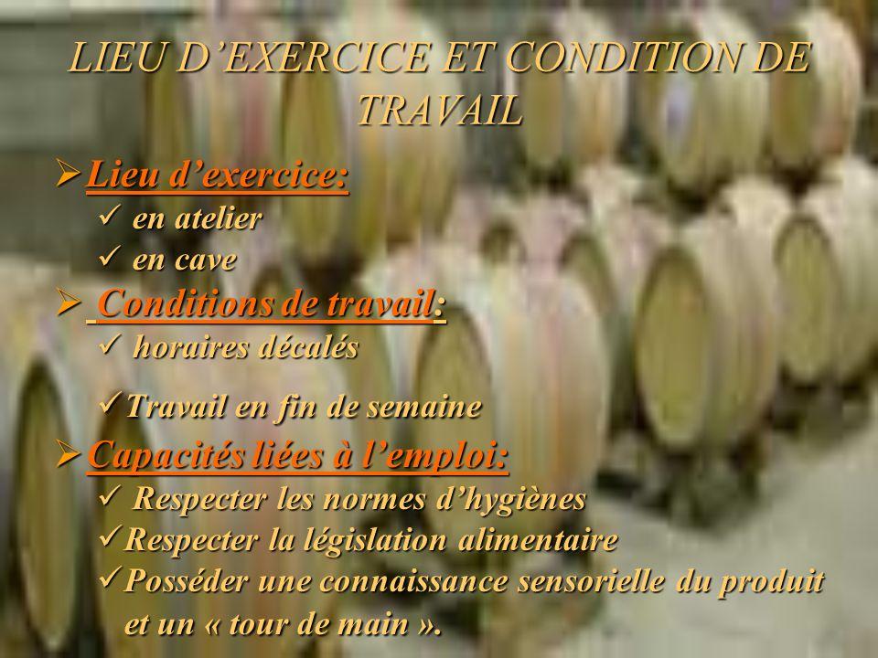 LIEU D'EXERCICE ET CONDITION DE TRAVAIL