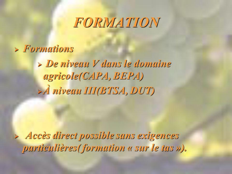 FORMATION Formations De niveau V dans le domaine agricole(CAPA, BEPA)